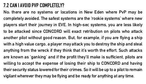 New Pilot FAQ Avoid PvP