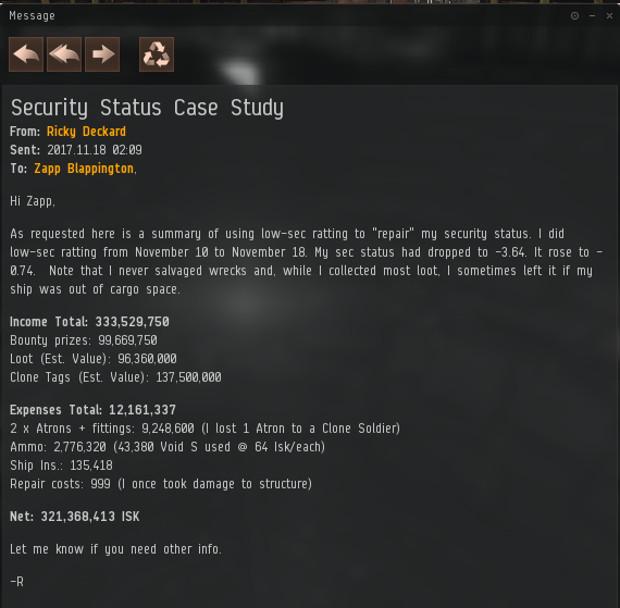 Deckard Sec Status Rpt